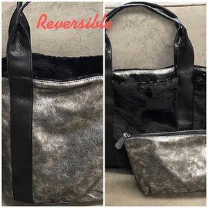 Reversible a Metallic/Black Fur Tote w/Insert,NWT